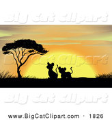 Big Cat Cartoon Vector Clipart of a Lion Cubs Silhouetted with Trees and Grass During Sunset by Graphics RF