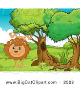 Big Cat Cartoon Vector Clipart of a Lion Doing a Hand Stand by Graphics RF