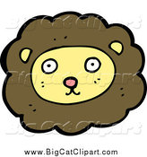 Big Cat Cartoon Vector Clipart of a Lion Face by Lineartestpilot