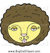 Big Cat Cartoon Vector Clipart of a Lion Face with a Tongue Sticking out by Lineartestpilot