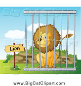 Big Cat Cartoon Vector Clipart of a Lion in a Cage by Graphics RF