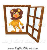 Big Cat Cartoon Vector Clipart of a Lion in an Open Window by Graphics RF