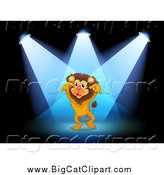 Big Cat Cartoon Vector Clipart of a Lion in Spotlights on a Stage by Graphics RF