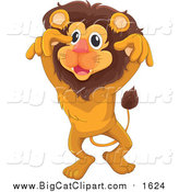Big Cat Cartoon Vector Clipart of a Lion Leaping by Graphics RF