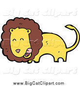 Big Cat Cartoon Vector Clipart of a Lion Licking His Chops by Lineartestpilot