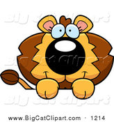 Big Cat Cartoon Vector Clipart of a Lion over a Surface by Cory Thoman