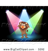 Big Cat Cartoon Vector Clipart of a Lion Performing in Spotlights on a Stage by Graphics RF