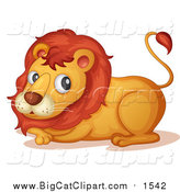 Big Cat Cartoon Vector Clipart of a Lion Resting by Graphics RF