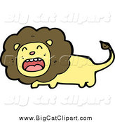 Big Cat Cartoon Vector Clipart of a Lion Roaring by Lineartestpilot