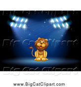 Big Cat Cartoon Vector Clipart of a Lion Sitting in Spotlights on a Stage by Graphics RF