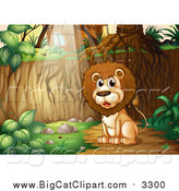 Big Cat Cartoon Vector Clipart of a Lion Sitting in the Woods near a Cabin by Graphics RF