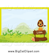 Big Cat Cartoon Vector Clipart of a Lion Sitting on a Sign over a Log by Graphics RF