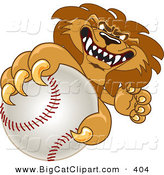 Big Cat Cartoon Vector Clipart of a Lion Sports Character Mascot Grabbing a Baseball by Toons4Biz