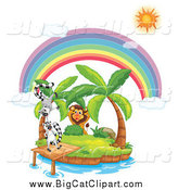 Big Cat Cartoon Vector Clipart of a Lion Stalking Lemurs on a Tropical Island Under a Sun and Rainbow by Graphics RF