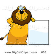 Big Cat Cartoon Vector Clipart of a Lion Standing and Leaning Against a Blank Sign Board by Cory Thoman