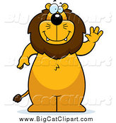 Big Cat Cartoon Vector Clipart of a Lion Standing and Waving by Cory Thoman