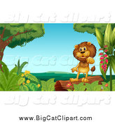 Big Cat Cartoon Vector Clipart of a Lion Standing on a Log by Graphics RF