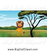 Big Cat Cartoon Vector Clipart of a Lion Standing Upright by a Tree by Graphics RF