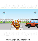 Big Cat Cartoon Vector Clipart of a Lion Tiger Cub and Bear Halting a Car at a Crosswalk by Graphics RF