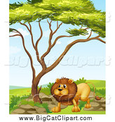 Big Cat Cartoon Vector Clipart of a Lion Under a Tree by Graphics RF