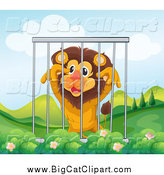 Big Cat Cartoon Vector Clipart of a Lion up in a Cage in a Hilly Landscape by Graphics RF