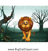 Big Cat Cartoon Vector Clipart of a Lion Walking in a Foggy Landscape by Graphics RF