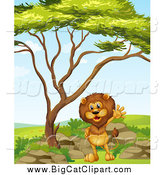 Big Cat Cartoon Vector Clipart of a Lion Waving Under a Tree on a Clear Day by Graphics RF