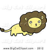 Big Cat Cartoon Vector Clipart of a Lion with a Brown Mane by Lineartestpilot