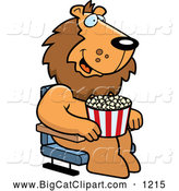 Big Cat Cartoon Vector Clipart of a Lion with Popcorn at the Movie Theater by Cory Thoman