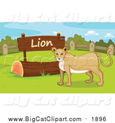 Big Cat Cartoon Vector Clipart of a Lioness by a Sign by Graphics RF