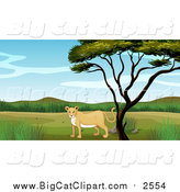 May 6th, 2016: Big Cat Cartoon Vector Clipart of a Lioness Under a Tree by Graphics RF
