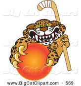 Big Cat Cartoon Vector Clipart of a Mad Cheetah, Jaguar or Leopard Character School Mascot Grabbing a Hockey Ball by Toons4Biz