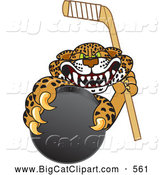Big Cat Cartoon Vector Clipart of a Mad Cheetah, Jaguar or Leopard Character School Mascot Grabbing a Hockey Puck by Toons4Biz