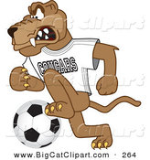 Big Cat Cartoon Vector Clipart of a Mad Cougar Mascot Character Playing Soccer by Toons4Biz
