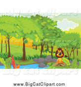 Big Cat Cartoon Vector Clipart of a Mad Lion Sitting at a Pond in a Forest by Graphics RF