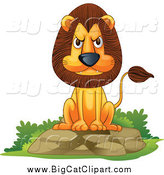 Big Cat Cartoon Vector Clipart of a Mad Lion Sitting on a Boulder by Graphics RF