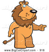 Big Cat Cartoon Vector Clipart of a Mad Lion Standing and Pointing His Finger to the Right by Cory Thoman