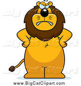 Big Cat Cartoon Vector Clipart of a Mad Lion Standing Upright with His Hands on His Hips by Cory Thoman