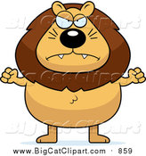 Big Cat Cartoon Vector Clipart of a Mad Male Lion Holding up Fists by Cory Thoman