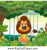 Big Cat Cartoon Vector Clipart of a Mad Male Lion in a Cage by Graphics RF