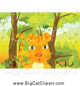 Big Cat Cartoon Vector Clipart of a Mad Tiger in the Woods by Graphics RF