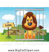 Big Cat Cartoon Vector Clipart of a Mad Zoo Lion in a Cage by Graphics RF