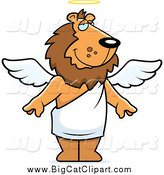 Big Cat Cartoon Vector Clipart of a Male Angel Lion with White Wings and a Halo by Cory Thoman