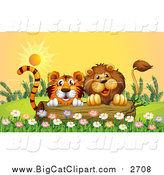 Big Cat Cartoon Vector Clipart of a Male Lion and Tiger Peeking Behind a Log at Sunset by Graphics RF