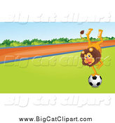 Big Cat Cartoon Vector Clipart of a Male Lion Balancing on a Soccer Ball by Graphics RF