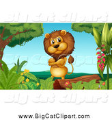 Big Cat Cartoon Vector Clipart of a Male Lion by a Log by Graphics RF