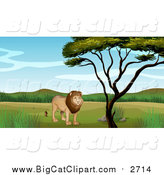 Big Cat Cartoon Vector Clipart of a Male Lion by a Tree on a Sunny Day by Graphics RF
