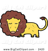 May 15th, 2016: Big Cat Cartoon Vector Clipart of a Male Lion by Lineartestpilot