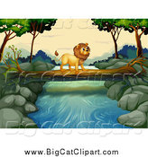 Big Cat Cartoon Vector Clipart of a Male Lion Crossing a Stream on a Fallen Log by Graphics RF