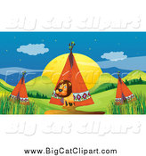 Big Cat Cartoon Vector Clipart of a Male Lion Emerging from a Tipi in a Camp by Graphics RF